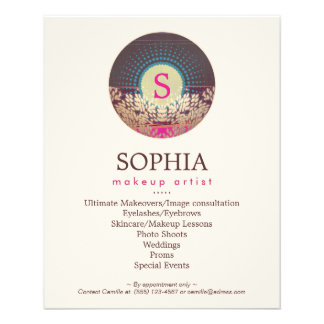 Ornate Monogram Makeup Artist and Hair Stylist 11.5 Cm X 14 Cm Flyer