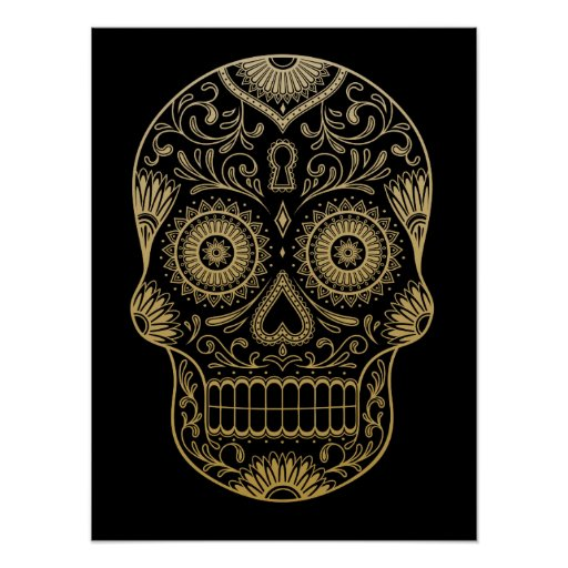 Ornate One Colour Sugar Skull Poster