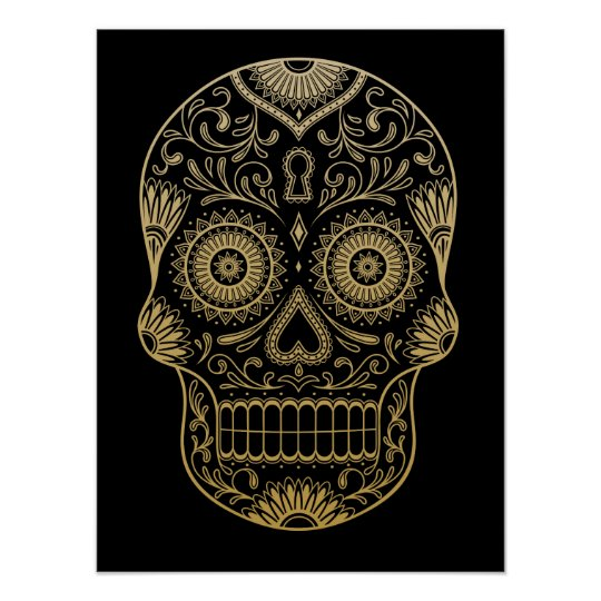 Ornate One Colour Sugar Skull Poster