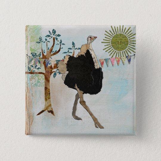 Ornate Ostrich Sunshine Button