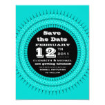 Ornate Outburst Save the Date Blue Pink Invitation