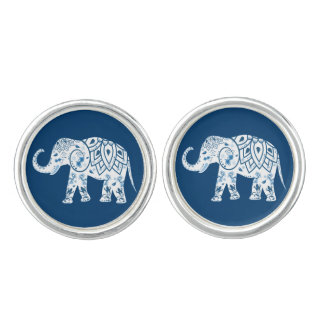Ornate Patterned Blue Elephant Cufflinks