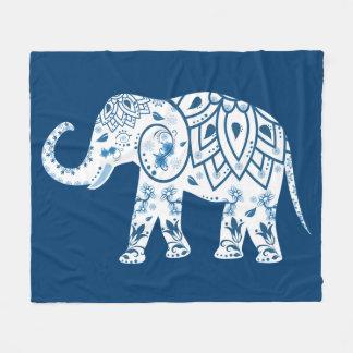 Ornate Patterned Blue Elephant Fleece Blanket