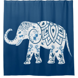 Ornate Patterned Blue Elephant Shower Curtain
