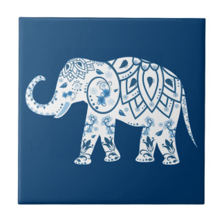 Ornate Patterned Blue Elephant Small Square Tile