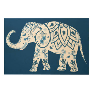 Ornate Patterned Blue Elephant Wood Print