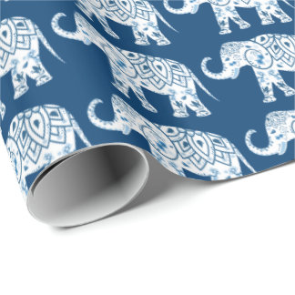 Ornate Patterned Blue Elephant Wrapping Paper