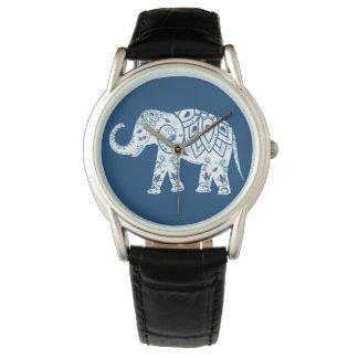 Ornate Patterned Blue Elephant Wristwatch