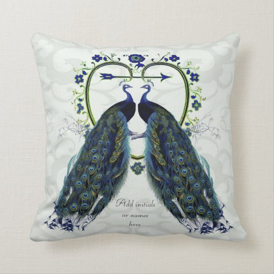 Ornate peacock themed wedding gift pillow add name