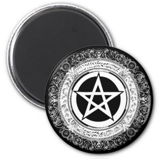 Ornate Pentacle 6 Cm Round Magnet
