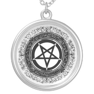 Ornate Pentagram Silver Plated Necklace