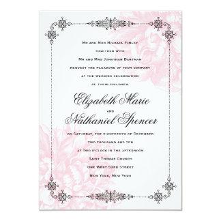 "Ornate Peony Wedding Invitation 5"" X 7"" Invitation Card"