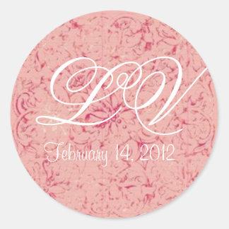 Ornate Pink Customizable Wedding Monogram Sticker Round Sticker
