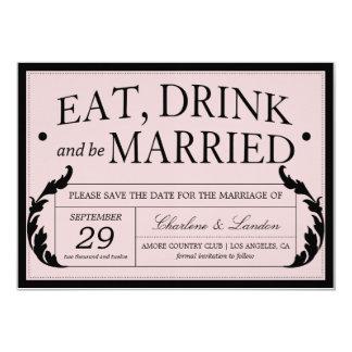 ORNATE PINK VINTAGE WEDDING | SAVE THE DATE 13 CM X 18 CM INVITATION CARD