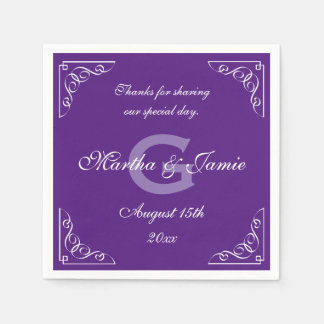 Ornate purple and white monogram wedding napkins disposable serviette