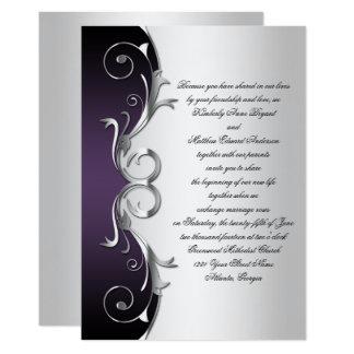 Ornate Purple Black Silver Wedding Celebration Card Nice Look