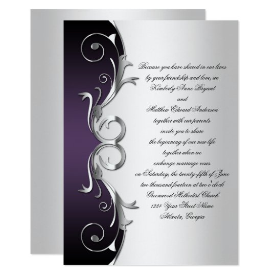 Ornate Purple Black Silver Wedding Celebration Card