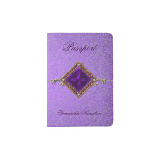 Ornate Purple Damask Custom Passport Holder