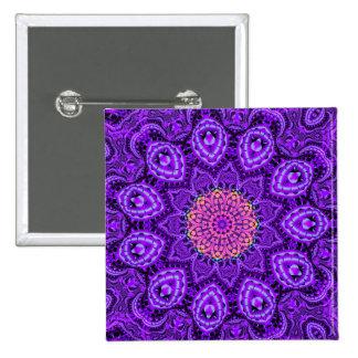 Ornate Purple Flower Vibrations Kaleidoscope Art 15 Cm Square Badge