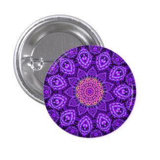 Ornate Purple Flower Vibrations Kaleidoscope Art 3 Cm Round Badge