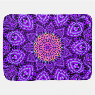 Ornate Purple Flower Vibrations Kaleidoscope Art Baby Blanket