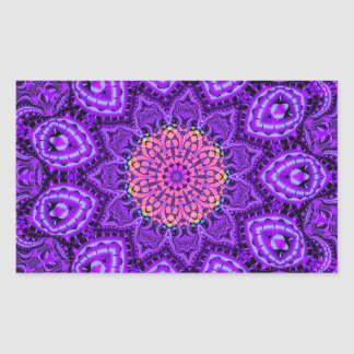 Ornate Purple Flower Vibrations Kaleidoscope Art Rectangle Stickers
