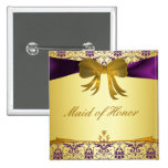 Ornate Purple Gold Damask Wedding Party Button/Pin