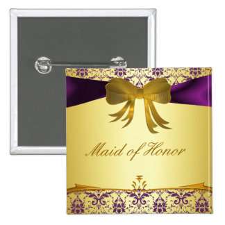 Ornate Purple Gold Damask Wedding Party Button/Pin 15 Cm Square Badge