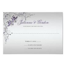 Ornate Purple Silver floral Swirls RSVP