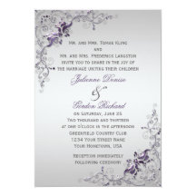 Ornate Purple Silver Floral Swirls Weddings Custom Invitations