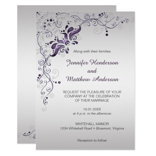 Printable Wedding Invitations Designs With Red And Silver: Ornate Purple Swirls On Silver Wedding Invitation