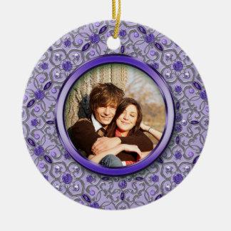 Ornate Purple Tanzanite Silver Photo Christmas Round Ceramic Decoration