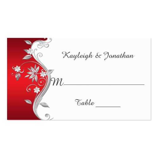 Ornate Red Silver White Flowers Place Cards Business Card Templates