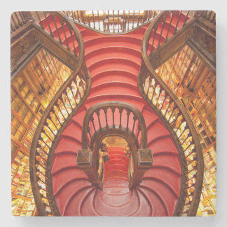 Ornate red stairway, Portugal Stone Coaster
