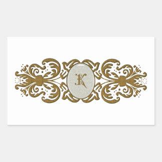 Ornate Scroll Monogram Letter K Rectangular Sticker