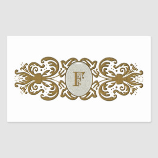 Ornate Scrolled Monogram Letter F Stickers