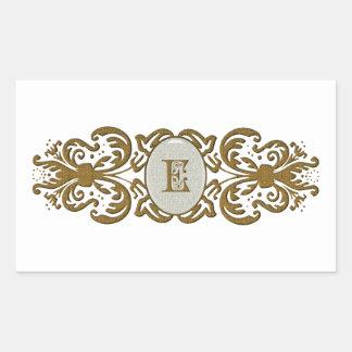 Ornate Scrolled Monogram Letter Rectangular Sticker