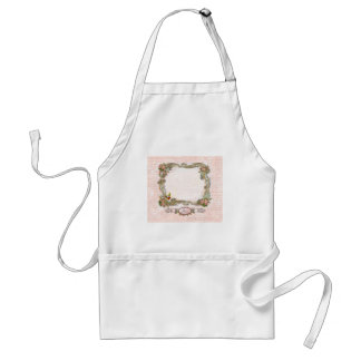 Ornate Scrolls French Writing Pink Roses Adult Apron