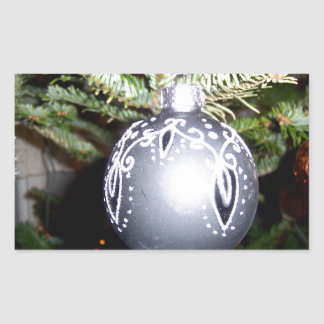 Ornate Silver Christmas Bulb Sticker