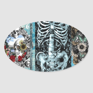 Ornate skull collage oval sticker
