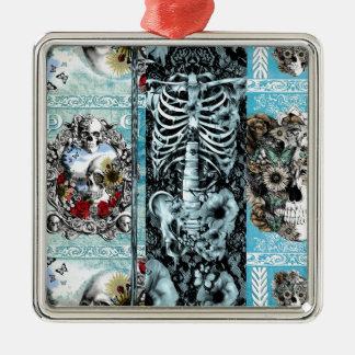Ornate skull collage Silver-Colored square decoration