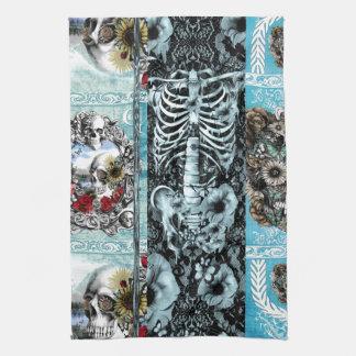 Ornate skull collage tea towel