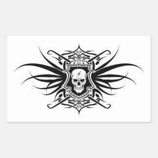 Ornate Skull with Lightning Bolt Rectangular Sticker