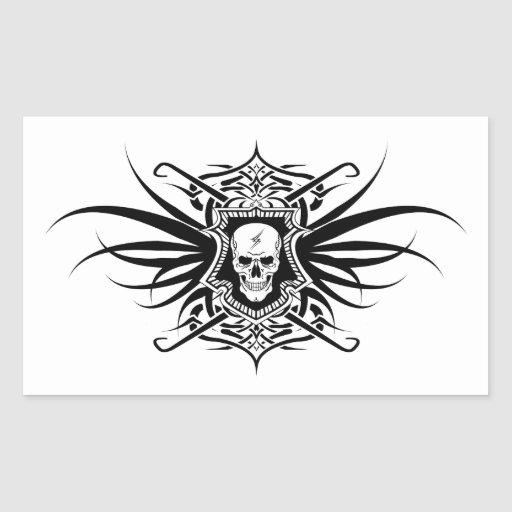 Ornate Skull with Lightning Bolt Rectangular Stickers