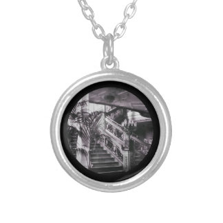 Ornate Stairwell D Deck Round Pendant Necklace