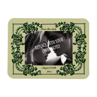 Ornate swirl save the date elegant photo magnet