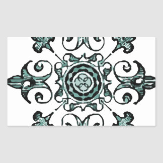 Ornate Symbol Black Blue Muted blue Rectangle Stickers