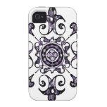 Ornate Symbol Black Blue Muted purple Case-Mate iPhone 4 Case