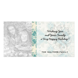ornate teal green and cream damask pattern customized photo card