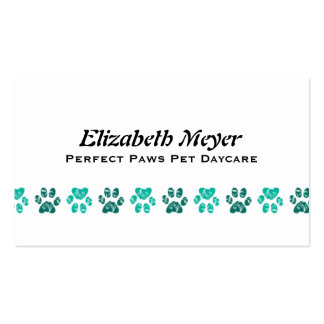 Ornate Teal Paw Print Pattern in Teal Pack Of Standard Business Cards